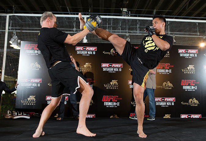 HONG KONG - NOVEMBER 07:  Cung Le works out for media and fans during a UFC open workout session at Harbour City Mall on November 7, 2012 in Hong Kong, Hong Kong.  (Photo by Josh Hedges/Zuffa LLC/Zuffa LLC via Getty Images)