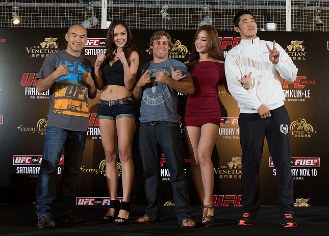 HONG KONG - NOVEMBER 07:  UFC fighters and Octagon girls pose for photos during a UFC press conference at Harbour City Mall on November 7, 2012 in Hong Kong, Hong Kong.  (Photo by Josh Hedges/Zuffa LLC/Zuffa LLC via Getty Images)