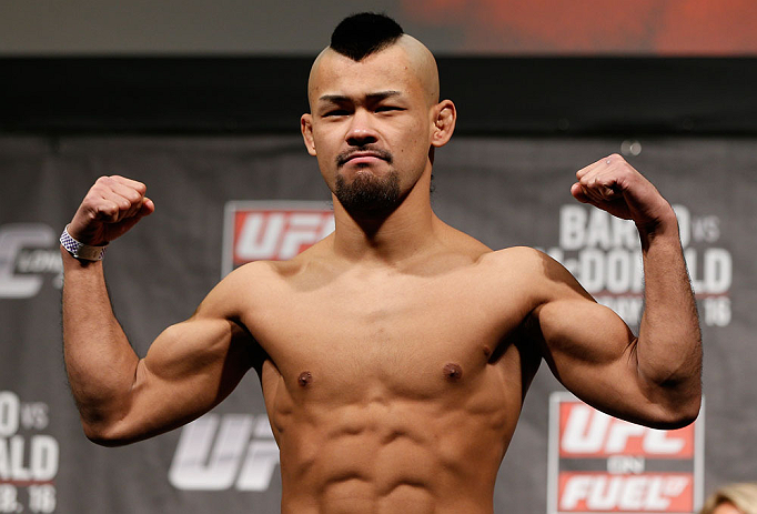 LONDON, ENGLAND - FEBRUARY 15:  Motonobu Tezuka weighs in during the UFC weigh-in on February 15, 2013 at Wembley Arena in London, England.  (Photo by Josh Hedges/Zuffa LLC/Zuffa LLC via Getty Images)