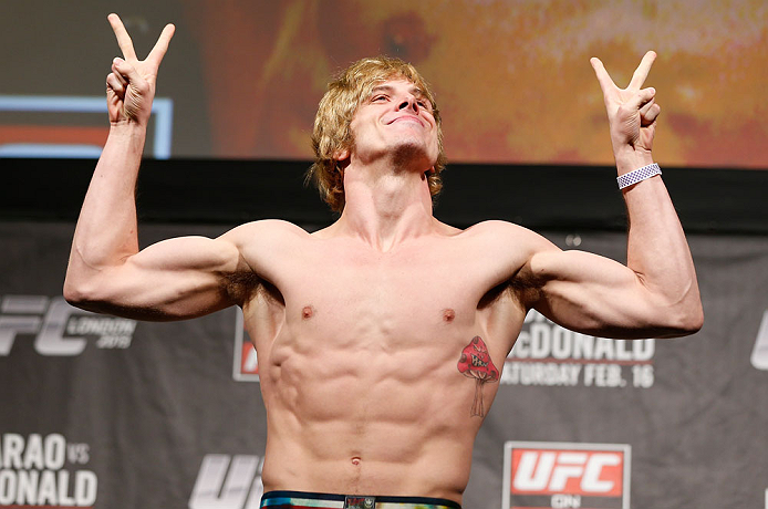 LONDON, ENGLAND - FEBRUARY 15:  Matthew Riddle weighs in during the UFC weigh-in on February 15, 2013 at Wembley Arena in London, England.  (Photo by Josh Hedges/Zuffa LLC/Zuffa LLC via Getty Images)