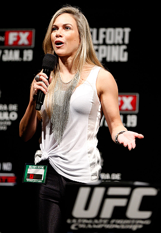 SAO PAULO, BRAZIL - JANUARY 18:  Paula Sack hosts a Q&A session before the UFC on FX official weigh-in event on January 18, 2013 at Ibirapuera Gymnasium in Sao Paulo, Brazil. (Photo by Josh Hedges/Zuffa LLC/Zuffa LLC via Getty Images)