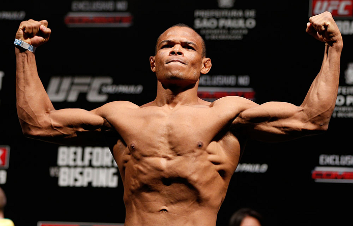 SAO PAULO, BRAZIL - JANUARY 18:  Francisco Trinaldo weighs in during the UFC on FX official weigh-in event on January 18, 2013 at Ibirapuera Gymnasium in Sao Paulo, Brazil. (Photo by Josh Hedges/Zuffa LLC/Zuffa LLC via Getty Images)