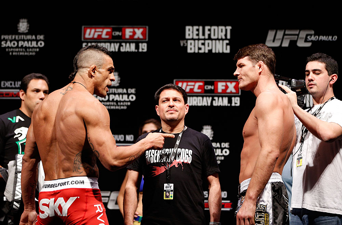 SAO PAULO, BRAZIL - JANUARY 18:  (L-R) Opponents Vitor Belfort and Michael Bisping face off during the UFC on FX official weigh-in event on January 18, 2013 at Ibirapuera Gymnasium in Sao Paulo, Brazil. (Photo by Josh Hedges/Zuffa LLC/Zuffa LLC via Getty Images)