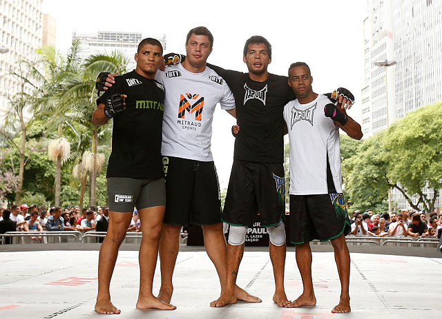 SAO PAULO, BRAZIL - JANUARY 16:  Milton Vieira (second from right) poses for photos with his team after an open workout session for media and fans on January 16, 2013 at Parque Anhangabau in Sao Paulo, Brazil. (Photo by Josh Hedges/Zuffa LLC/Zuffa LLC via Getty Images)