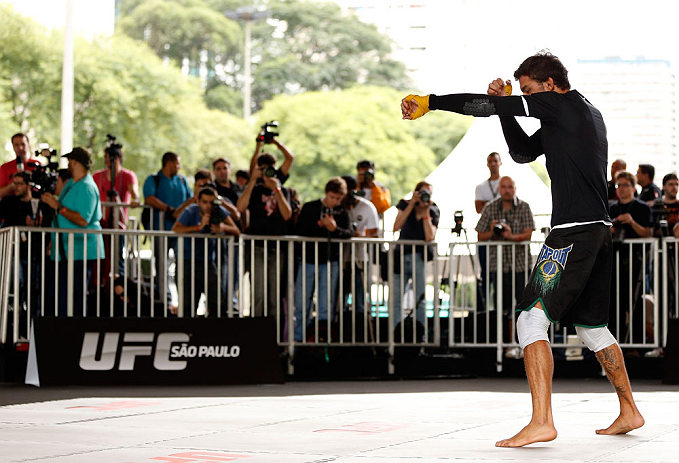 SAO PAULO, BRAZIL - JANUARY 16:  Milton Vieira participates in an open workout session for media and fans on January 16, 2013 at Parque Anhangabau in Sao Paulo, Brazil. (Photo by Josh Hedges/Zuffa LLC/Zuffa LLC via Getty Images)