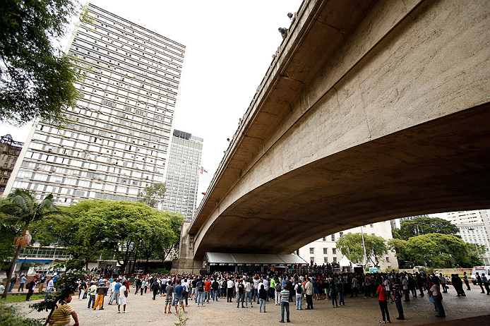 SAO PAULO, BRAZIL - JANUARY 16:  A general view of the venue as fighters participate in an open workout session for media and fans on January 16, 2013 at Parque Anhangabau in Sao Paulo, Brazil. (Photo by Josh Hedges/Zuffa LLC/Zuffa LLC via Getty Images)