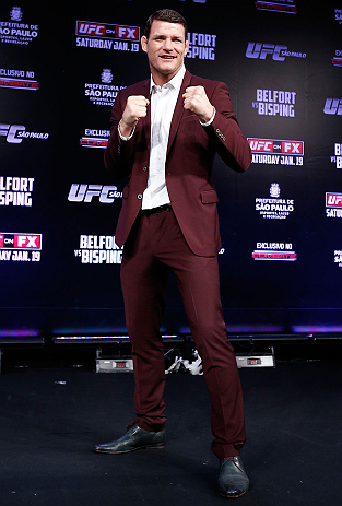 SAO PAULO, BRAZIL - JANUARY 17:  Michael Bisping poses for photos during a UFC press conference on January 17, 2013 at the Hilton Hotel in Sao Paulo, Brazil. (Photo by Josh Hedges/Zuffa LLC/Zuffa LLC via Getty Images)