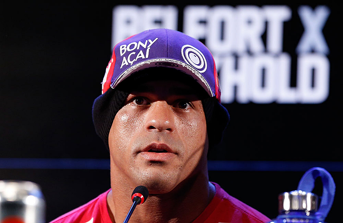 JARAGUA DO SUL, BRAZIL - MAY 16:   Vitor Belfort interacts with media during media day for the UFC on FX event on May 16, 2013 at the Sociedade Cultura Artistica in Jaragua do Sul, Santa Catarina, Brazil.  (Photo by Josh Hedges/Zuffa LLC/Zuffa LLC via Getty Images)