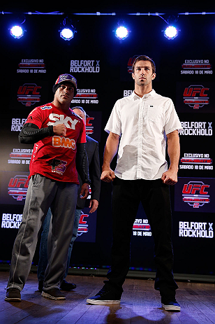 JARAGUA DO SUL, BRAZIL - MAY 16:   (L-R) Opponents Vitor Belfort and Luke Rockhold pose for photos during media day for the UFC on FX event on May 16, 2013 at the Sociedade Cultura Artistica in Jaragua do Sul, Santa Catarina, Brazil.  (Photo by Josh Hedges/Zuffa LLC/Zuffa LLC via Getty Images)