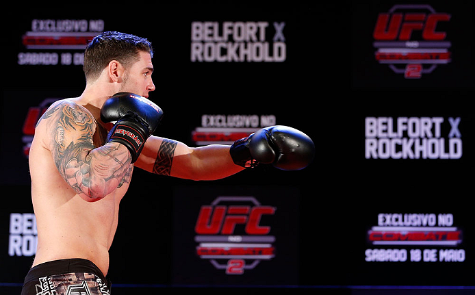 JARAGUA DO SUL, BRAZIL - MAY 16:   Chris Camozzi conducts a workout session during media day for the UFC on FX event on May 16, 2013 at the Sociedade Cultura Artistica in Jaragua do Sul, Santa Catarina, Brazil.  (Photo by Josh Hedges/Zuffa LLC/Zuffa LLC via Getty Images)