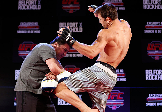 JARAGUA DO SUL, BRAZIL - MAY 16:   Luke Rockhold conducts a workout session during media day for the UFC on FX event on May 16, 2013 at the Sociedade Cultura Artistica in Jaragua do Sul, Santa Catarina, Brazil.  (Photo by Josh Hedges/Zuffa LLC/Zuffa LLC via Getty Images)