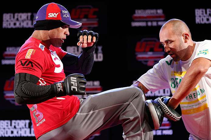 JARAGUA DO SUL, BRAZIL - MAY 16:   Vitor Belfort conducts a workout session during media day for the UFC on FX event on May 16, 2013 at the Sociedade Cultura Artistica in Jaragua do Sul, Santa Catarina, Brazil.  (Photo by Josh Hedges/Zuffa LLC/Zuffa LLC via Getty Images)