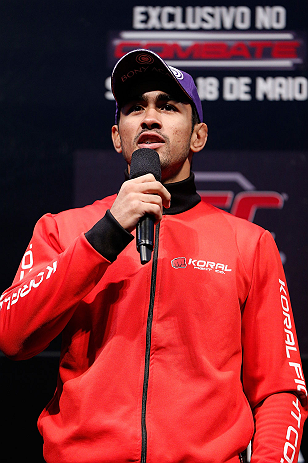 JARAGUA DO SUL, BRAZIL - MAY 17: Godofredo 'Pepey' Castro interacts with fans during a Q&A session before the UFC on FX weigh-in on May 17, 2013 at the Arena Jaragua in Jaragua do Sul, Santa Catarina, Brazil. (Photo by Josh Hedges/Zuffa LLC/Zuffa LLC via Getty Images)