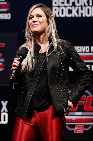 JARAGUA DO SUL, BRAZIL - MAY 17: UFC host Paula Sack interacts with fans during a Q&A session before the UFC on FX weigh-in on May 17, 2013 at the Arena Jaragua in Jaragua do Sul, Santa Catarina, Brazil. (Photo by Josh Hedges/Zuffa LLC/Zuffa LLC via Getty Images)