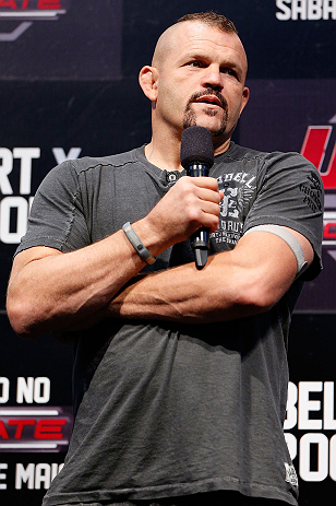 JARAGUA DO SUL, BRAZIL - MAY 17: Chuck Liddell interacts with fans during a Q&A session before the UFC on FX weigh-in on May 17, 2013 at the Arena Jaragua in Jaragua do Sul, Santa Catarina, Brazil. (Photo by Josh Hedges/Zuffa LLC/Zuffa LLC via Getty Images)