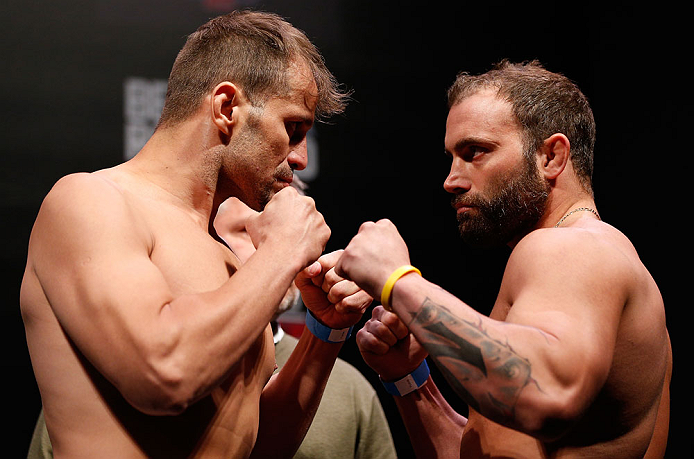 JARAGUA DO SUL, BRAZIL - MAY 17: (L-R) Opponents Fabio Maldonado and Roger Hollett face off during the UFC on FX weigh-in on May 17, 2013 at the Arena Jaragua in Jaragua do Sul, Santa Catarina, Brazil. (Photo by Josh Hedges/Zuffa LLC/Zuffa LLC via Getty Images)
