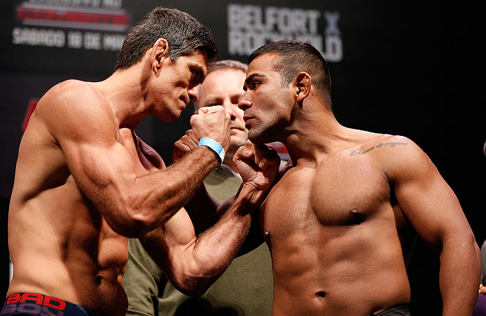 JARAGUA DO SUL, BRAZIL - MAY 17: (L-R) Opponents Paulo Thiago and Michel Prazeres face off during the UFC on FX weigh-in on May 17, 2013 at the Arena Jaragua in Jaragua do Sul, Santa Catarina, Brazil. (Photo by Josh Hedges/Zuffa LLC/Zuffa LLC via Getty Images)