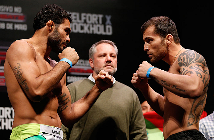 JARAGUA DO SUL, BRAZIL - MAY 17: (L-R) Opponents Rafael Natal and Joao Zeferino face off during the UFC on FX weigh-in on May 17, 2013 at the Arena Jaragua in Jaragua do Sul, Santa Catarina, Brazil. (Photo by Josh Hedges/Zuffa LLC/Zuffa LLC via Getty Images)