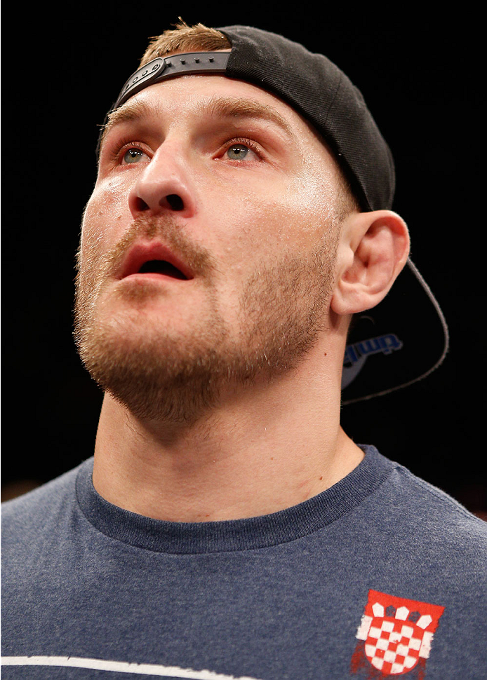 SAO PAULO, BRAZIL - MAY 31: Stipe Miocic reacts after his knockout victory over Fabio Maldonado in their heavyweight fight during the UFC Fight Night event at the Ginasio do Ibirapuera on May 31, 2014 in Sao Paulo, Brazil. (Photo by Josh Hedges/Zuffa LLC/Zuffa LLC via Getty Images)
