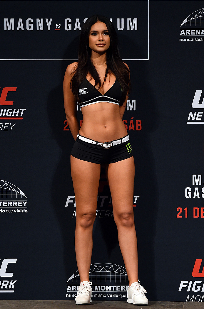 MONTERREY, MEXICO - NOVEMBER 20:  UFC Octagon Girl Jamillette Gaxiola stands on stage during the UFC Fight Night weigh-in at the Arena Monterrey on November 20, 2015 in Monterrey, Mexico. (Photo by Jeff Bottari/Zuffa LLC/Zuffa LLC via Getty Images)