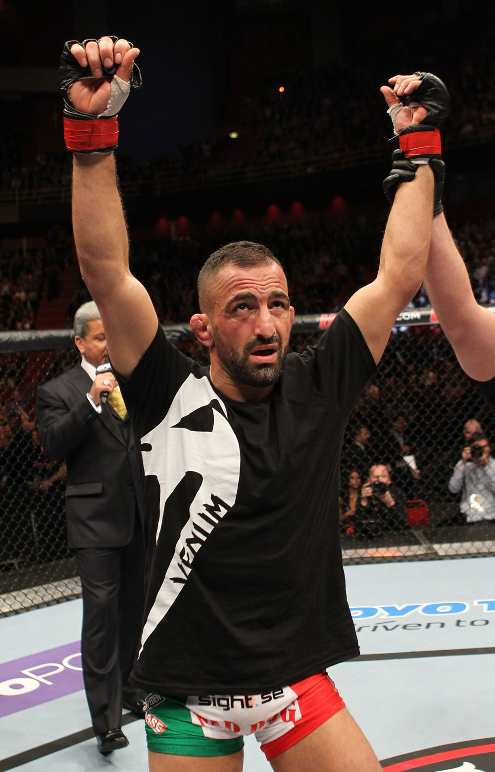 STOCKHOLM, SWEDEN - APRIL 14:  Reza Madadi of Sweden reacts after defeating Yoislandy Izquierdo at the UFC on Fuel TV event at Ericsson Globe on April 14, 2012 in Stockholm, Sweden.  (Photo by Josh Hedges/Zuffa LLC/Zuffa LLC via Getty Images)