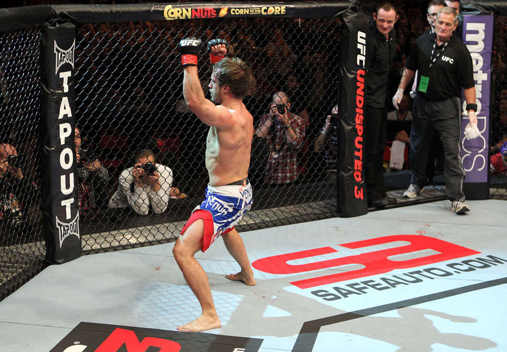 STOCKHOLM, SWEDEN - APRIL 14:  Brad Pickett reacts after defeating Damacio Page in a bantamweight bout at the UFC on Fuel TV event at Ericsson Globe on April 14, 2012 in Stockholm, Sweden.  (Photo by Josh Hedges/Zuffa LLC/Zuffa LLC via Getty Images)