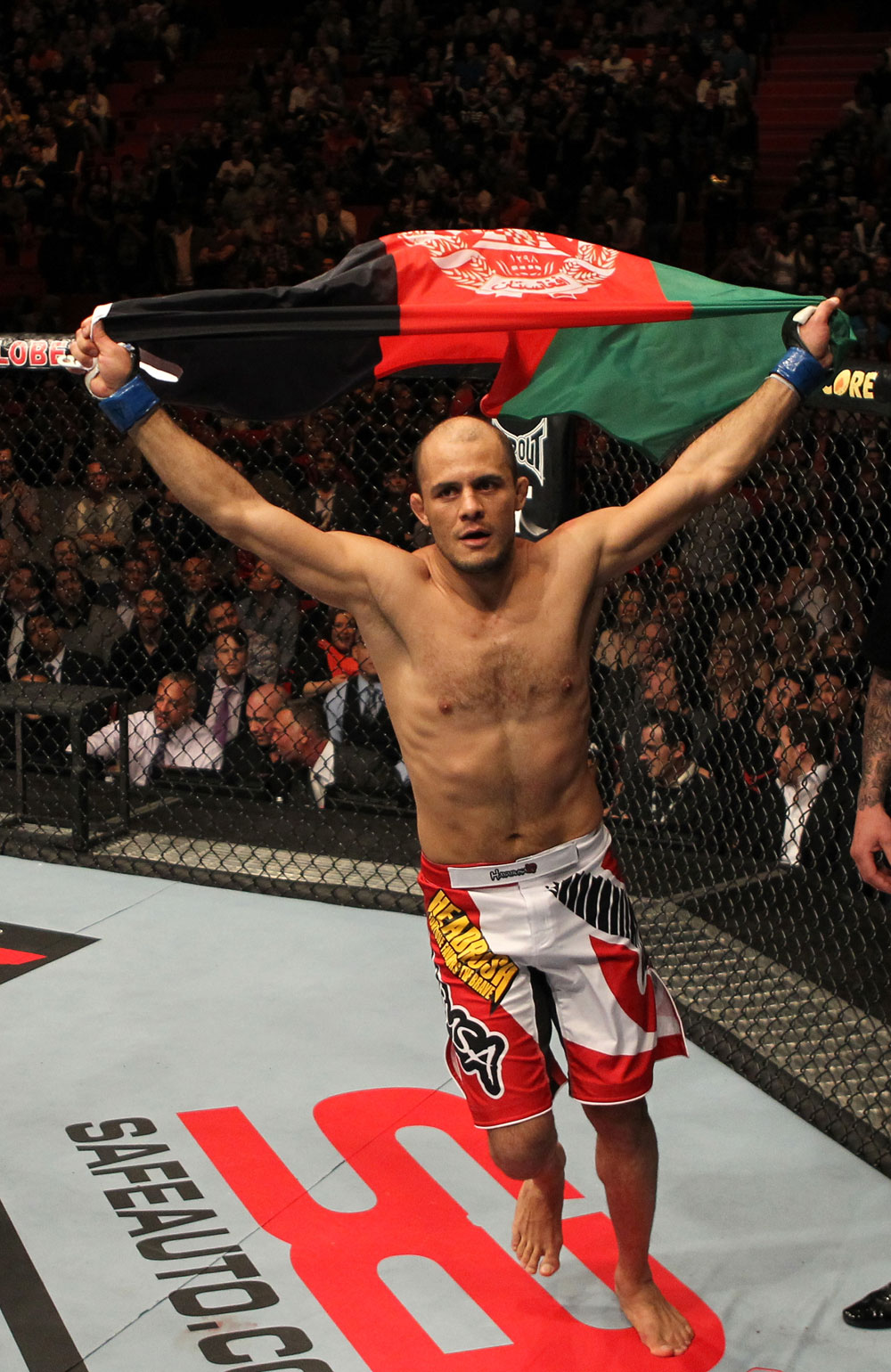 STOCKHOLM, SWEDEN - APRIL 14: Siyar Bahadurzada reacts to his win over Paulo Thiago at the UFC on Fuel TV event at Ericsson Globe on April 14, 2012 in Stockholm, Sweden. (Photo by Josh Hedges/Zuffa LLC/Zuffa LLC via Getty Images)