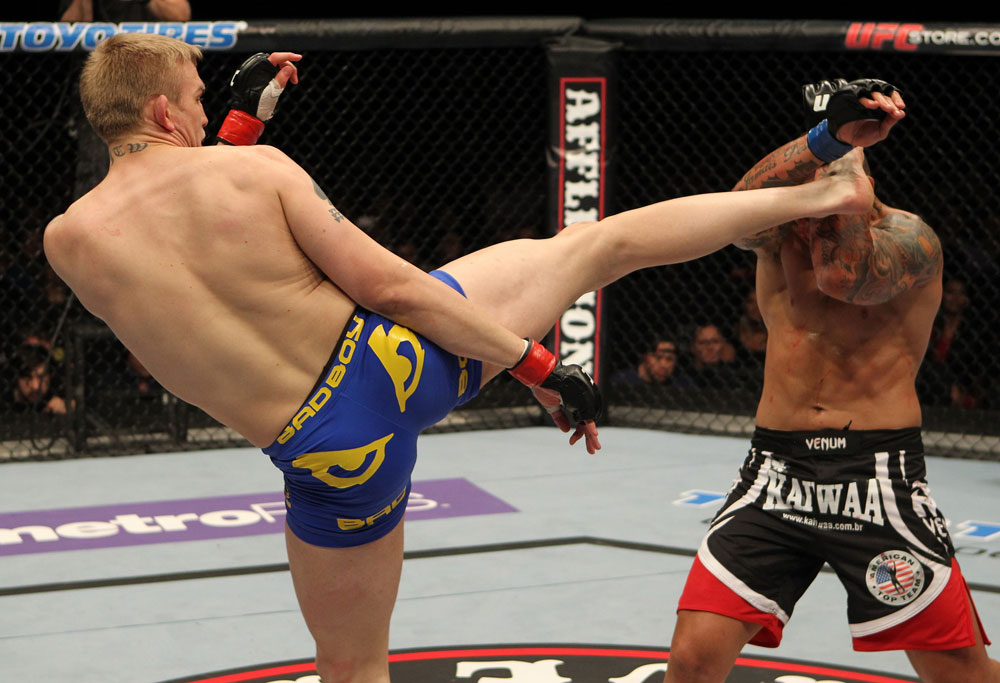 STOCKHOLM, SWEDEN - APRIL 14:  (L-R) Alexander Gustafsson kicks Thiago Silva during their light heavyweight bout at the UFC on Fuel TV event at Ericsson Globe on April 14, 2012 in Stockholm, Sweden.  (Photo by Josh Hedges/Zuffa LLC/Zuffa LLC via Getty Images)