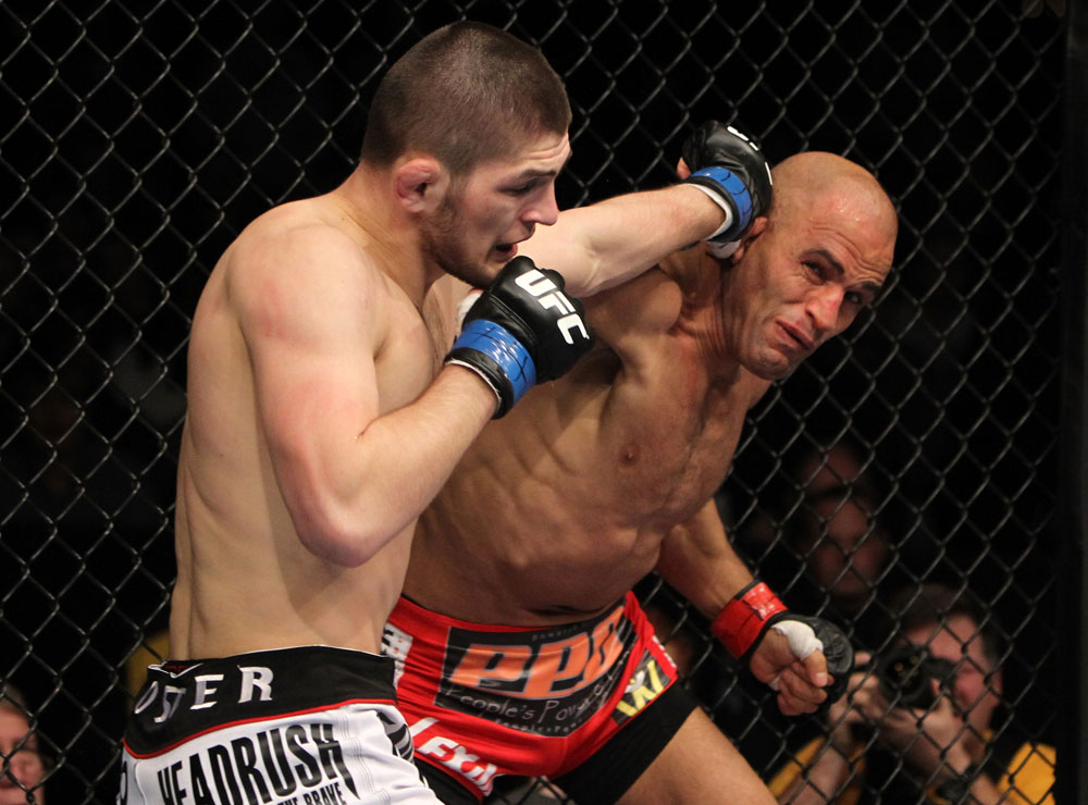NASHVILLE, TN - JANUARY 20:  (L-R) Khabib Nurmagomedov and Kamal Shalorus trade punches during the UFC on FX event at Bridgestone Arena on January 20, 2012 in Nashville, Tennessee.  (Photo by Josh Hedges/Zuffa LLC/Zuffa LLC via Getty Images)
