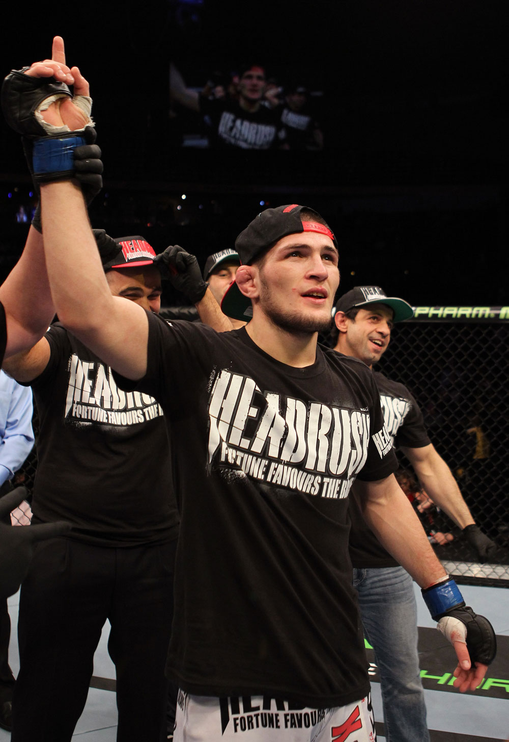 NASHVILLE, TN - JANUARY 20:  Khabib Nurmagomedov reacts after defeating Kamal Shalorus during the UFC on FX event at Bridgestone Arena on January 20, 2012 in Nashville, Tennessee.  (Photo by Josh Hedges/Zuffa LLC/Zuffa LLC via Getty Images)