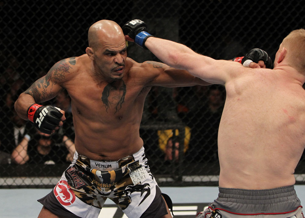 NASHVILLE, TN - JANUARY 20:  (L-R) Jorge Rivera punches Eric Schafer during the UFC on FX event at Bridgestone Arena on January 20, 2012 in Nashville, Tennessee.  (Photo by Josh Hedges/Zuffa LLC/Zuffa LLC via Getty Images)