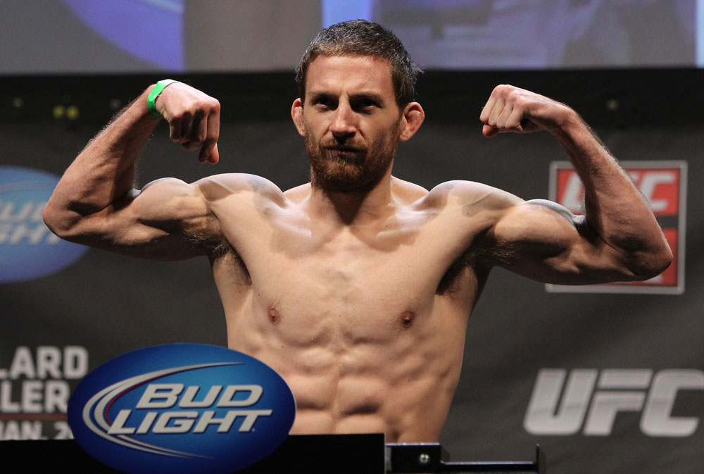 NASHVILLE, TN - JANUARY 19:  Nick Denis weighs in during the UFC on FX official weigh in at Bridgestone Arena on January 19, 2012 in Nashville, Tennessee.  (Photo by Josh Hedges/Zuffa LLC/Zuffa LLC via Getty Images)