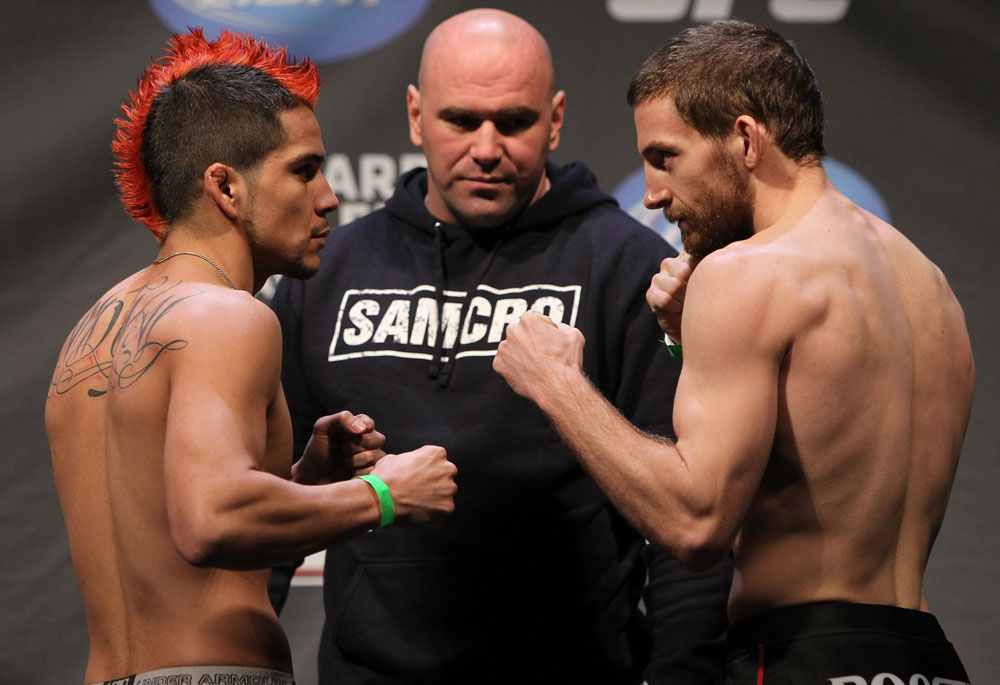 NASHVILLE, TN - JANUARY 19:  (L-R) Opponents Joseph Sandoval and Nick Denis face off after weighing in during the UFC on FX official weigh in at Bridgestone Arena on January 19, 2012 in Nashville, Tennessee.  (Photo by Josh Hedges/Zuffa LLC/Zuffa LLC via Getty Images)