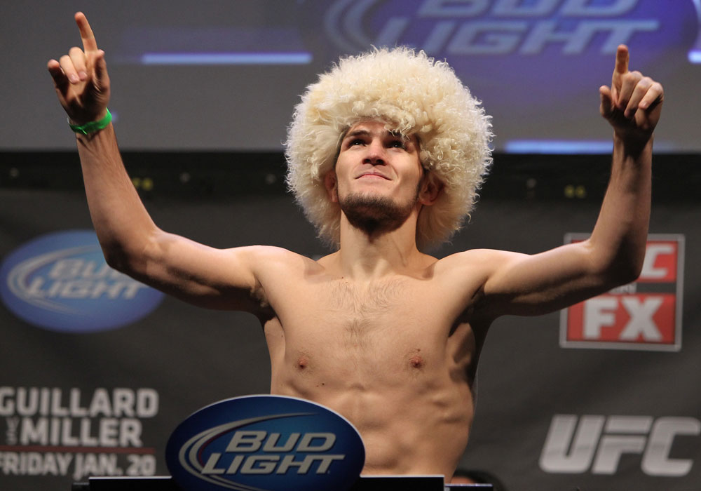 NASHVILLE, TN - JANUARY 19:  Khabib Nurmagomedov weighs in during the UFC on FX official weigh in at Bridgestone Arena on January 19, 2012 in Nashville, Tennessee.  (Photo by Josh Hedges/Zuffa LLC/Zuffa LLC via Getty Images)