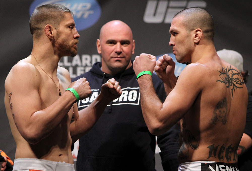 NASHVILLE, TN - JANUARY 19:  (L-R) Welterweight opponents Duane Ludwig and Josh Neer face off after weighing in during the UFC on FX official weigh in at Bridgestone Arena on January 19, 2012 in Nashville, Tennessee.  (Photo by Josh Hedges/Zuffa LLC/Zuffa LLC via Getty Images)