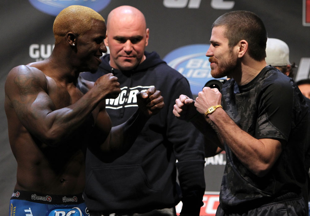NASHVILLE, TN - JANUARY 19:  (L-R) Lightweight opponents Melvin Guillard and Jim Miller face off after weighing in during the UFC on FX official weigh in at Bridgestone Arena on January 19, 2012 in Nashville, Tennessee.  (Photo by Josh Hedges/Zuffa LLC/Zuffa LLC via Getty Images)