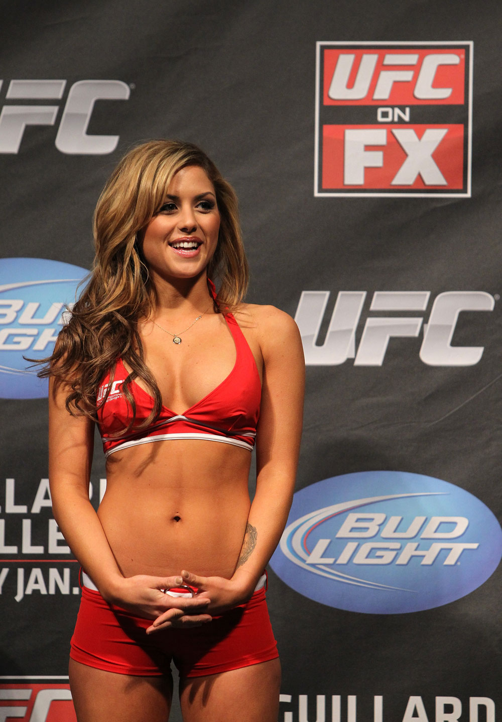 NASHVILLE, TN - JANUARY 19:  UFC Octagon Girl Brittney Palmer attends the UFC on FX official weigh in at Bridgestone Arena on January 19, 2012 in Nashville, Tennessee.  (Photo by Josh Hedges/Zuffa LLC/Zuffa LLC via Getty Images)