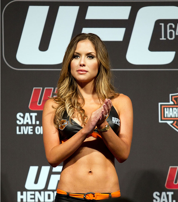 MILWAUKEE, WI - AUGUST 30:  UFC Octagon Girl Brittney Palmer stands on stage during the UFC 164 weigh-in inside the BMO Harris Bradley Center on August 30, 2013 in Milwaukee, Wisconsin. (Photo by Ed Mulholland/Zuffa LLC/Zuffa LLC via Getty Images) *** Local Caption *** Brittney Palmer
