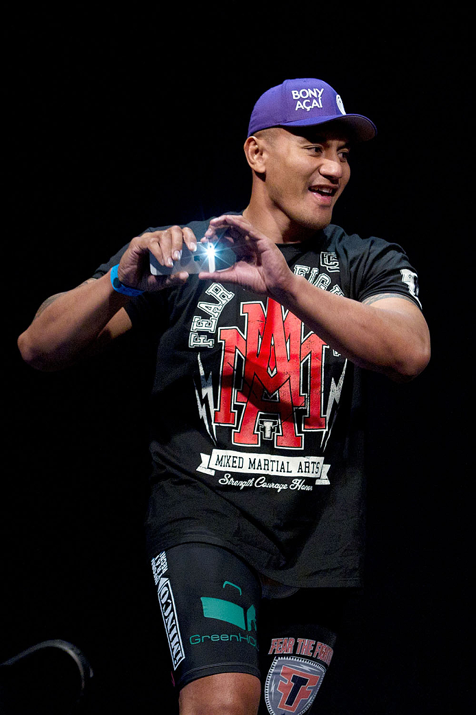 MILWAUKEE, WI - AUGUST 30:  Soa Palelei takes a photo of the crowd before he weighs in during the UFC 164 weigh-in inside the BMO Harris Bradley Center on August 30, 2013 in Milwaukee, Wisconsin. (Photo by Ed Mulholland/Zuffa LLC/Zuffa LLC via Getty Images) *** Local Caption *** Soa Palelei
