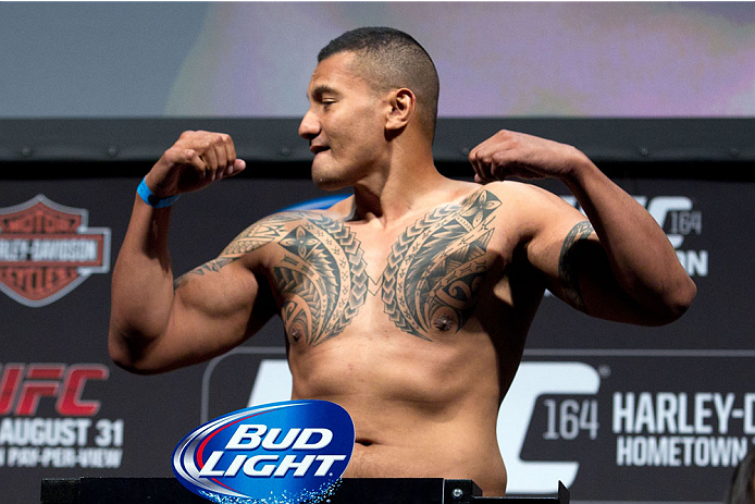 MILWAUKEE, WI - AUGUST 30:  Soa Palelei weighs in during the UFC 164 weigh-in inside the BMO Harris Bradley Center on August 30, 2013 in Milwaukee, Wisconsin. (Photo by Ed Mulholland/Zuffa LLC/Zuffa LLC via Getty Images) *** Local Caption *** Soa Palelei