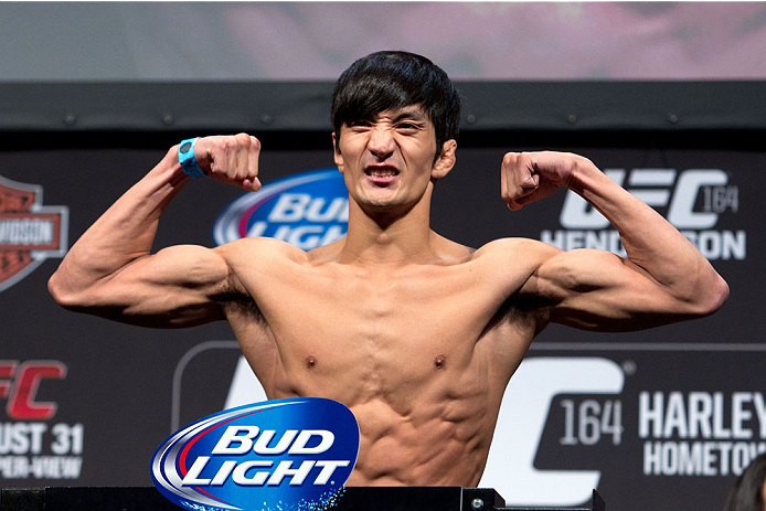 MILWAUKEE, WI - AUGUST 30:  Kyung Ho Kang weighs in during the UFC 164 weigh-in inside the BMO Harris Bradley Center on August 30, 2013 in Milwaukee, Wisconsin. (Photo by Ed Mulholland/Zuffa LLC/Zuffa LLC via Getty Images) *** Local Caption *** Kyung Ho Kang