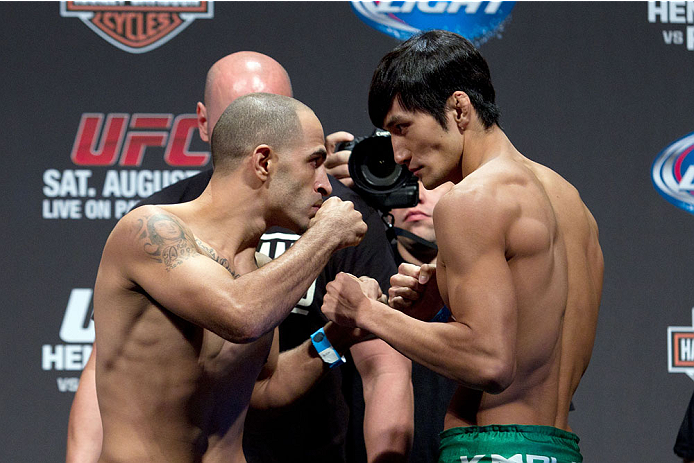 MILWAUKEE, WI - AUGUST 30:  (L-R) Chico Camus and Kyung Ho Kang face off during the UFC 164 weigh-in inside the BMO Harris Bradley Center on August 30, 2013 in Milwaukee, Wisconsin. (Photo by Ed Mulholland/Zuffa LLC/Zuffa LLC via Getty Images) *** Local Caption *** Chico Camus; Kyung Ho Kang