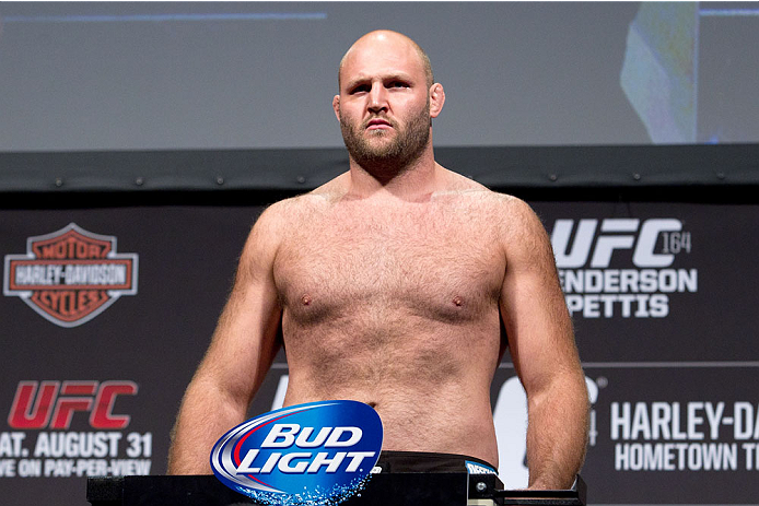 MILWAUKEE, WI - AUGUST 30:  Ben Rothwell weighs in during the UFC 164 weigh-in inside the BMO Harris Bradley Center on August 30, 2013 in Milwaukee, Wisconsin. (Photo by Ed Mulholland/Zuffa LLC/Zuffa LLC via Getty Images) *** Local Caption *** Ben Rothwell