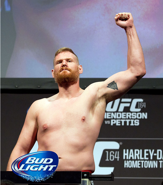 MILWAUKEE, WI - AUGUST 30:  Josh Barnett weighs in during the UFC 164 weigh-in inside the BMO Harris Bradley Center on August 30, 2013 in Milwaukee, Wisconsin. (Photo by Ed Mulholland/Zuffa LLC/Zuffa LLC via Getty Images) *** Local Caption *** Josh Barnett