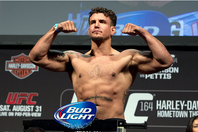 MILWAUKEE, WI - AUGUST 30:  Frank Mir weighs in during the UFC 164 weigh-in inside the BMO Harris Bradley Center on August 30, 2013 in Milwaukee, Wisconsin. (Photo by Ed Mulholland/Zuffa LLC/Zuffa LLC via Getty Images) *** Local Caption *** Frank Mir