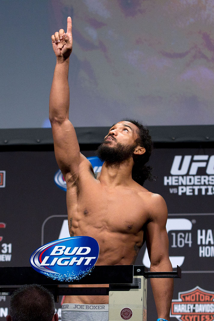 MILWAUKEE, WI - AUGUST 30:  Benson Henderson weighs in during the UFC 164 weigh-in inside the BMO Harris Bradley Center on August 30, 2013 in Milwaukee, Wisconsin. (Photo by Ed Mulholland/Zuffa LLC/Zuffa LLC via Getty Images) *** Local Caption *** Benson Henderson