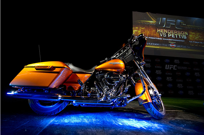 MILWAUKEE, WI - AUGUST 30:  A Harley-Davidson motorcycle sits on stage during the UFC weigh-in inside the BMO Harris Bradley Center on August 30, 2013 in Milwaukee, Wisconsin. (Photo by Jeff Bottari/Zuffa LLC/Zuffa LLC via Getty Images) *** Local Caption ***