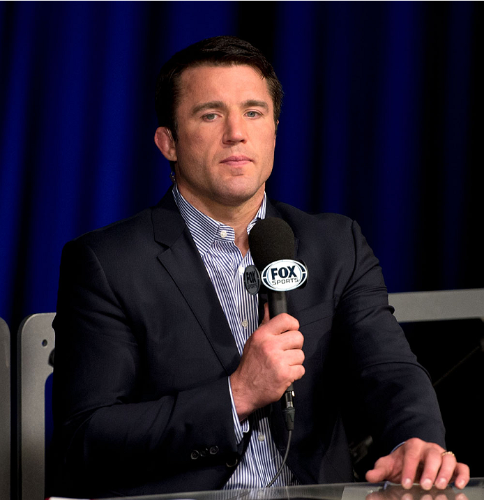 MILWAUKEE, WI - AUGUST 30:  Chael Sonnen commentates on the FOX Sports desk during the UFC weigh-in inside the BMO Harris Bradley Center on August 30, 2013 in Milwaukee, Wisconsin. (Photo by Jeff Bottari/Zuffa LLC/Zuffa LLC via Getty Images) *** Local Caption *** Chael Sonnen