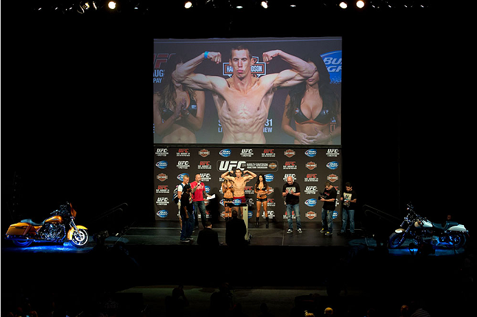 MILWAUKEE, WI - AUGUST 30:  Magnus Cedenblad weighs in during the UFC weigh-in inside the BMO Harris Bradley Center on August 30, 2013 in Milwaukee, Wisconsin. (Photo by Jeff Bottari/Zuffa LLC/Zuffa LLC via Getty Images) *** Local Caption *** Magnus Cedenblad