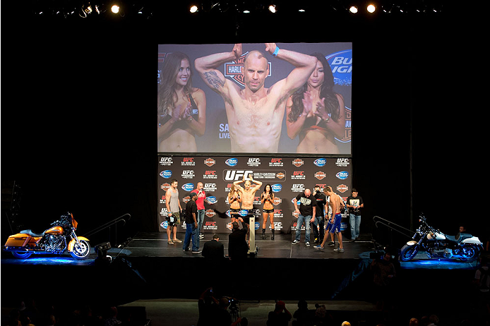 MILWAUKEE, WI - AUGUST 30:  Jared Hamman weighs in during the UFC weigh-in inside the BMO Harris Bradley Center on August 30, 2013 in Milwaukee, Wisconsin. (Photo by Jeff Bottari/Zuffa LLC/Zuffa LLC via Getty Images) *** Local Caption *** Jared Hamman